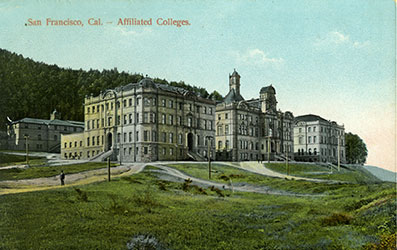 historical postcard of UCSF