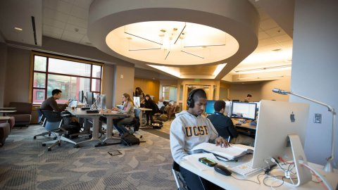 students on Library computer lab