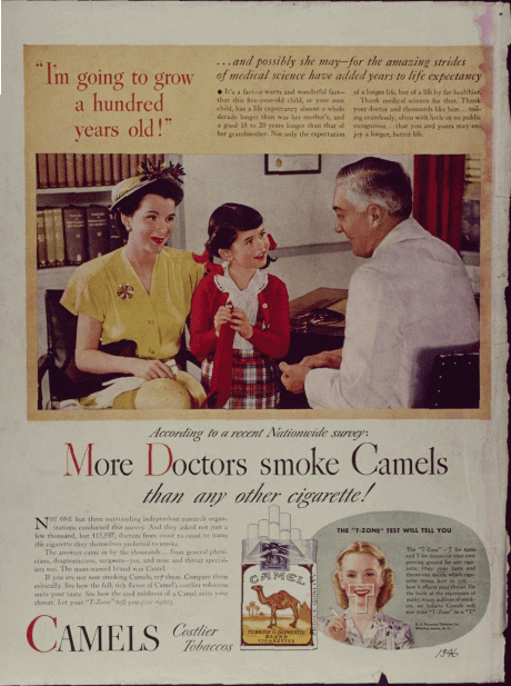 "50s-era tobacco ad: ""More Doctors Smoke Camels"""