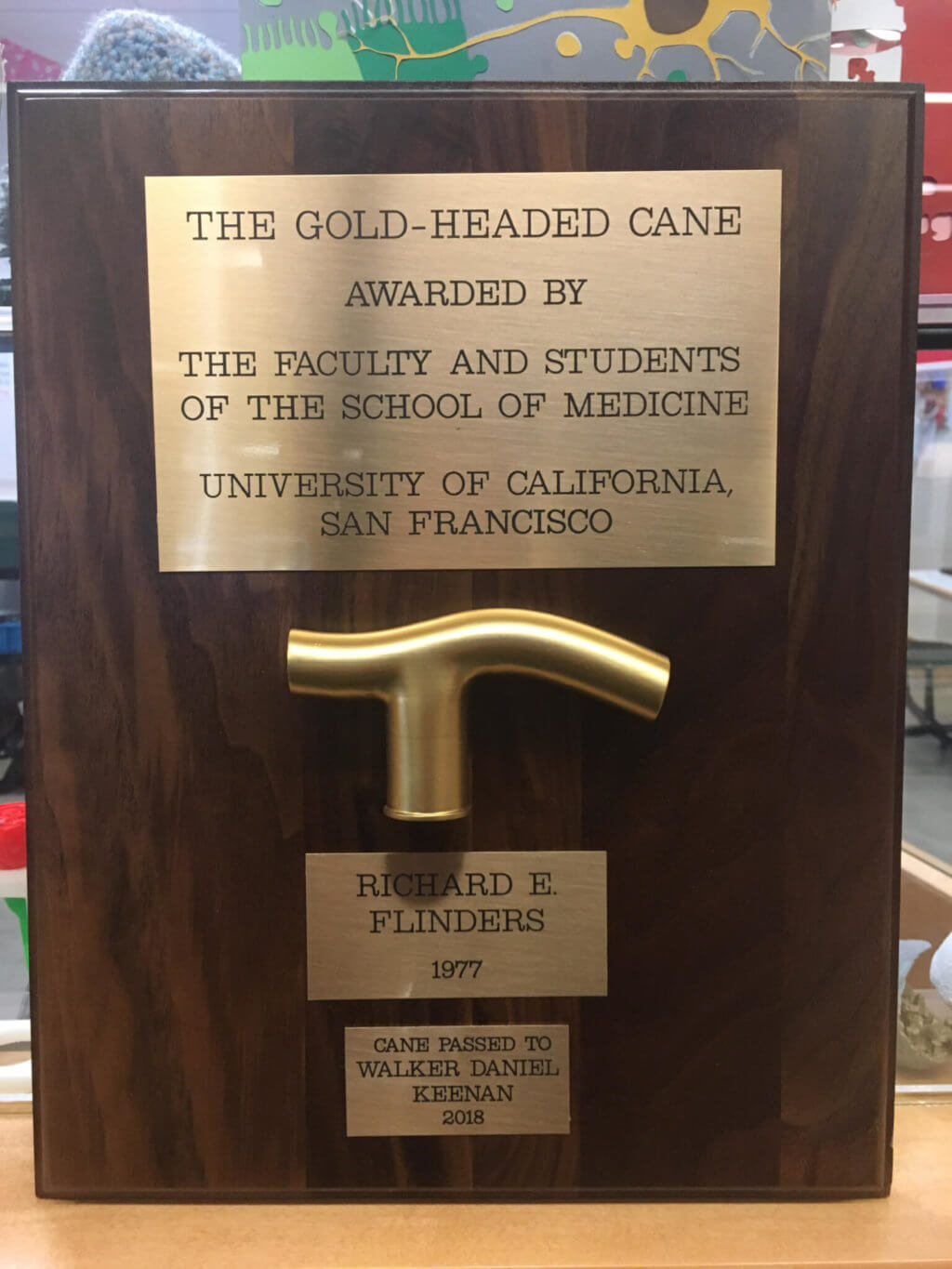 Completed 2018 Gold-Headed Cane plaque